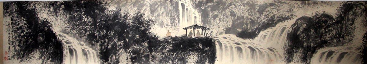 山水长卷《苍山奔泉》的说明: 书画质地: 纸本横轴 字画题材: 写意图片